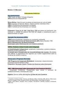 Fichamento - Fundamentos da Integração Regional: O Mercosul