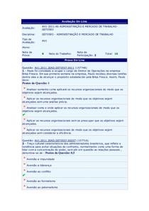 Prova AV1 - Administração e Merc. de Trabalho