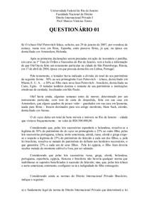 questionário 1 - DIPRI I - Prof. Marcos Vinícius
