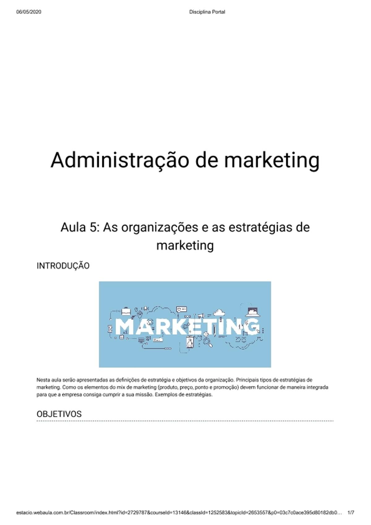 Pre-visualização do material Aula 5: As organizações e as estratégias de marketing - página 1