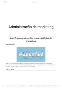 Aula 5: As organizações e as estratégias de marketing