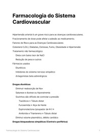 Resumo Farmacologia do Sistema Cardiovascular