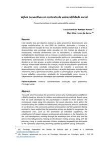 Aula 09 e 10 Texto Básico ROSSINI, LEA & BARROS MNF Ações Preventivas no Contexto de Vulnerabilidade Social (1)