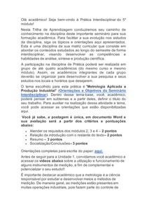 objetivos do paper metrologia aplicada a producao industria