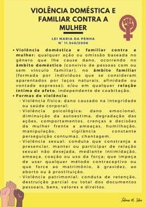 Resumo Violência doméstica e familiar contra a mulher (Lei Maria da Penha | 11.340/2006)