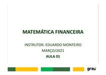 MATEMÁTICA FINANCEIRA - AULA 01