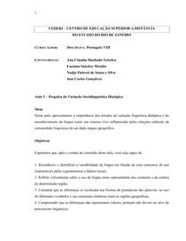 Aula 5   Pesquisa da Variação Sociolinguística Diatópica