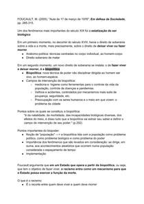 """BIOPOLÍTICA - FOUCAULT, M. (2005). """"Aula de 17 de março de 1976""""; Em defesa da Sociedade, pp. 285-315."""