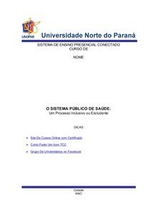 Portfólio Pronto - O Sistema Público De Saúde - Um Processo Inclusivo Ou Excludente