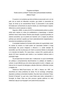 Existe racismo no Brasil? Teorias sobre particularidades brasileiras - Gilberto Freyre