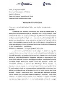 Atividade Avaliativa Texto Bernardete A. Gatti Didática e formação de professores