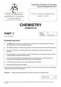 CHM415115 Exam Paper 2017