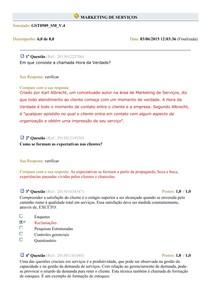 Simulado - Marketing de Serviços - 2015-1 - P04