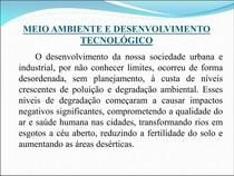 Meio ambiente e desenvolvimento tecnológico