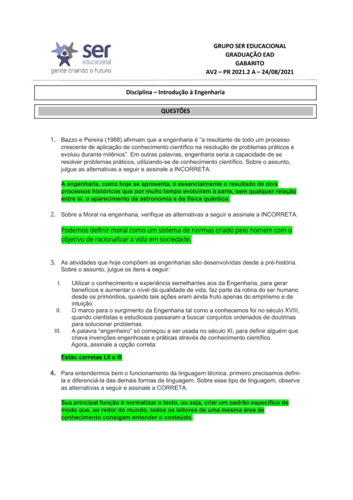 Pre-visualização do material AV 2 - Introdução à engenharia 2021 2 A - página 1