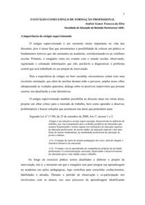 A IMPORTÂNCIA DO ESTÁGIO PARA A FORMAÇÃO PROFISSIONAL