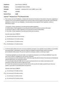 PROVA CONTABILIDADE PUBLICA AVALIAÇÃO I-UNIASSELVI
