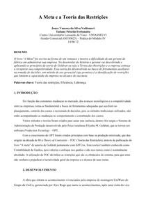 A Meta e a Teoria das Restrições   4° semestre