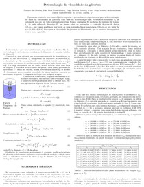 Relatório Física Experimental II: Viscosidade da Glicerina