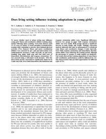 7. Does living setting influence training adaptations in young girls