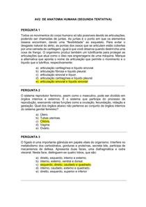 AV2 De Anatomia Humana (Segunda Tentativa)