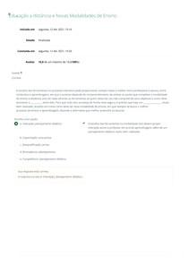 Educação a distância e Novas Modalidades de Ensino - Avaliação Objetiva (A1)