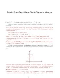 Terceira Prova Resolvida de Cálculo Diferencial e Séries