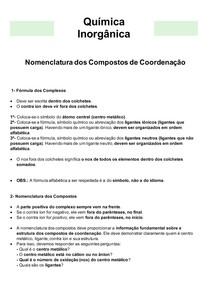 Química Inorgânica 07 - Nomenclatura dos Compostos de Coordenação