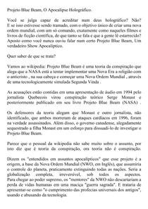 4 Projeto Blue Beam, O Apocalipse Holográfico.
