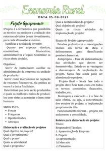 Projeto Agropecuário -Economia e Administração rural