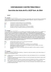 Exercícios - Contabilidade e Gestão Tributária II