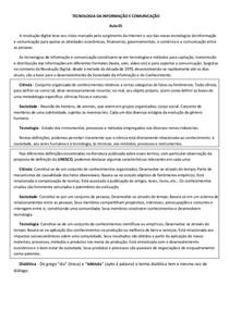 Tecnologia da Informação e Comunicação - Resumo