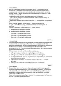 Arquitetura e Organização de Computadores A2