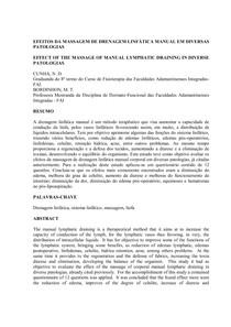 Artigo - Efeito da Drenagem Linfatica em Diversas Patologias