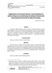 Adm Pública - DEMOCRACIA E POLÍTICAS PÚBLICAS Dissertação