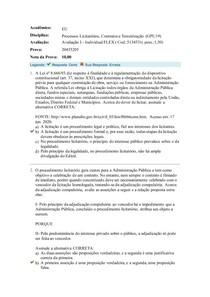 PROVA 1 OBJETIVA FLEX PROCESSOS LICITATÓRIOS, CONTRATOS E TERC UNIASSELVI