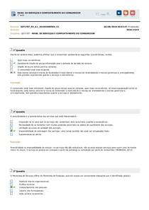 MARK. DE SERVIÇOS E COMPORTAMENTO DO CONSUMIDOR