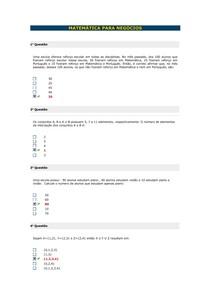 Banco de Questões I - Matemática para Negócios