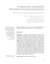AS PRINCIPAIS ALTERAÇÕES DE DESENVOLVIMENTO DENTÁRIO