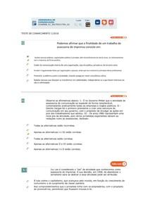 ASSESSORIA DE COMUNICAÇÃO teste 1 de conhecimento