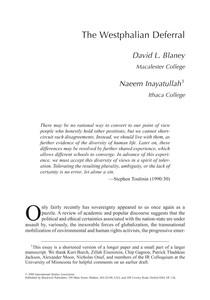 Blaney & Inayatullah  2000