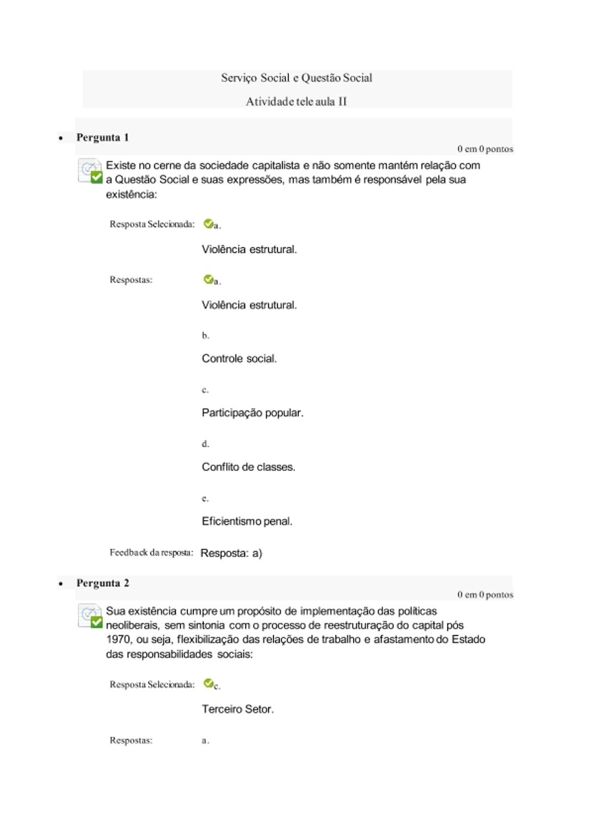 Pre-visualização do material Atividade tele aula II Serviço social e questão social. - página 1