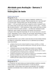 AVALIAÇÃO FILOSOFIA SEMANA 3 UNIVESP
