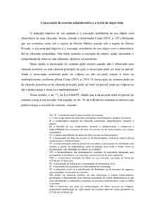 A inexecução do contrato administrativo e a teoria da imprevisão