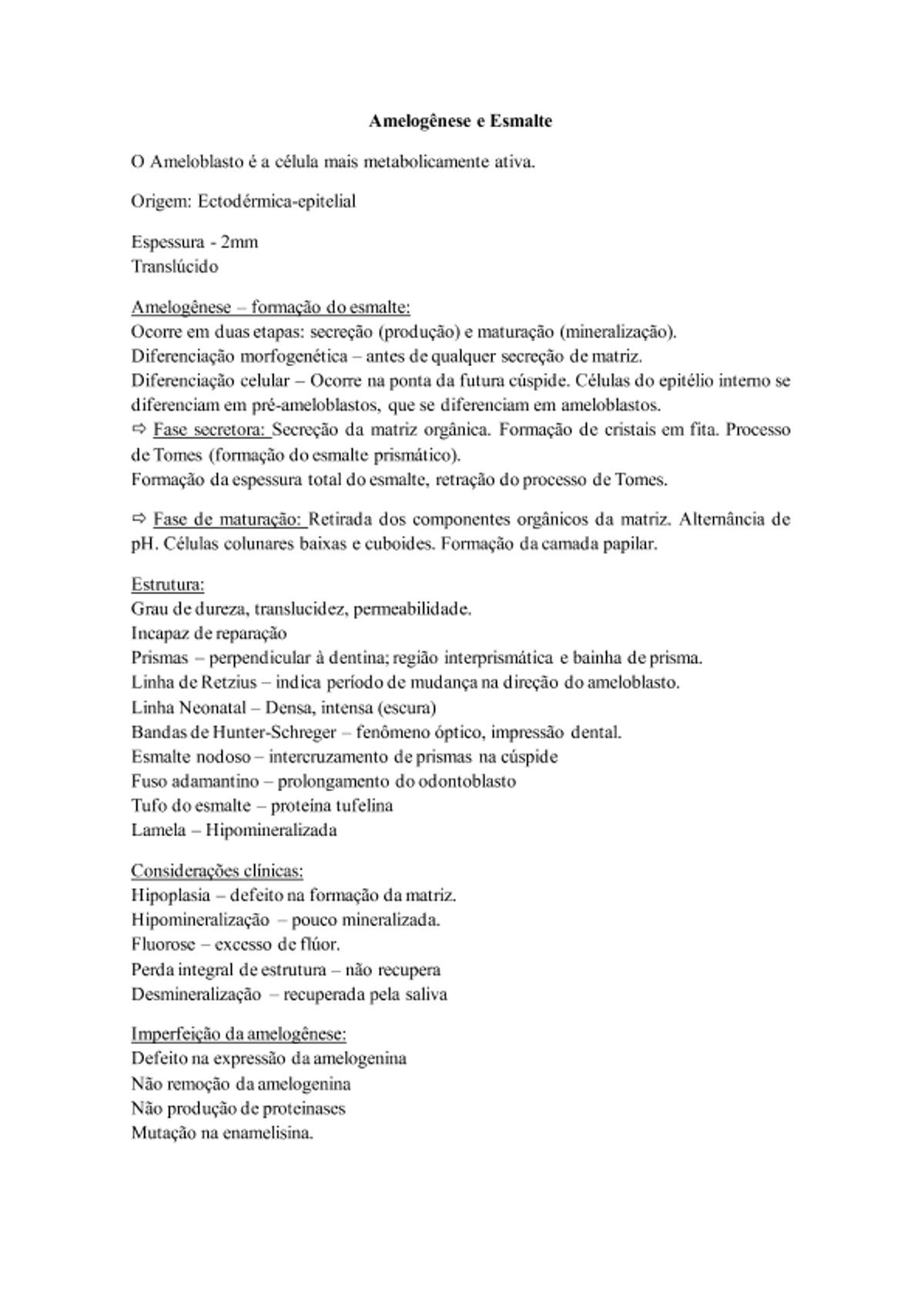 Pre-visualização do material Amelogênese e Esmalte - página 1