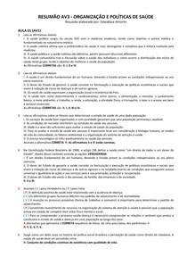 RESUMÃO AV3 - Org e Políticas de Saúde