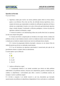 Questões de Revisão - Programação Dinâmica - Gabarito