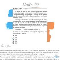 Questão 176 - ENEM 2015 - O tampo de vidro de uma mesa quebrou-se e deverá ser substituído por outro que tenha a forma de círculo.