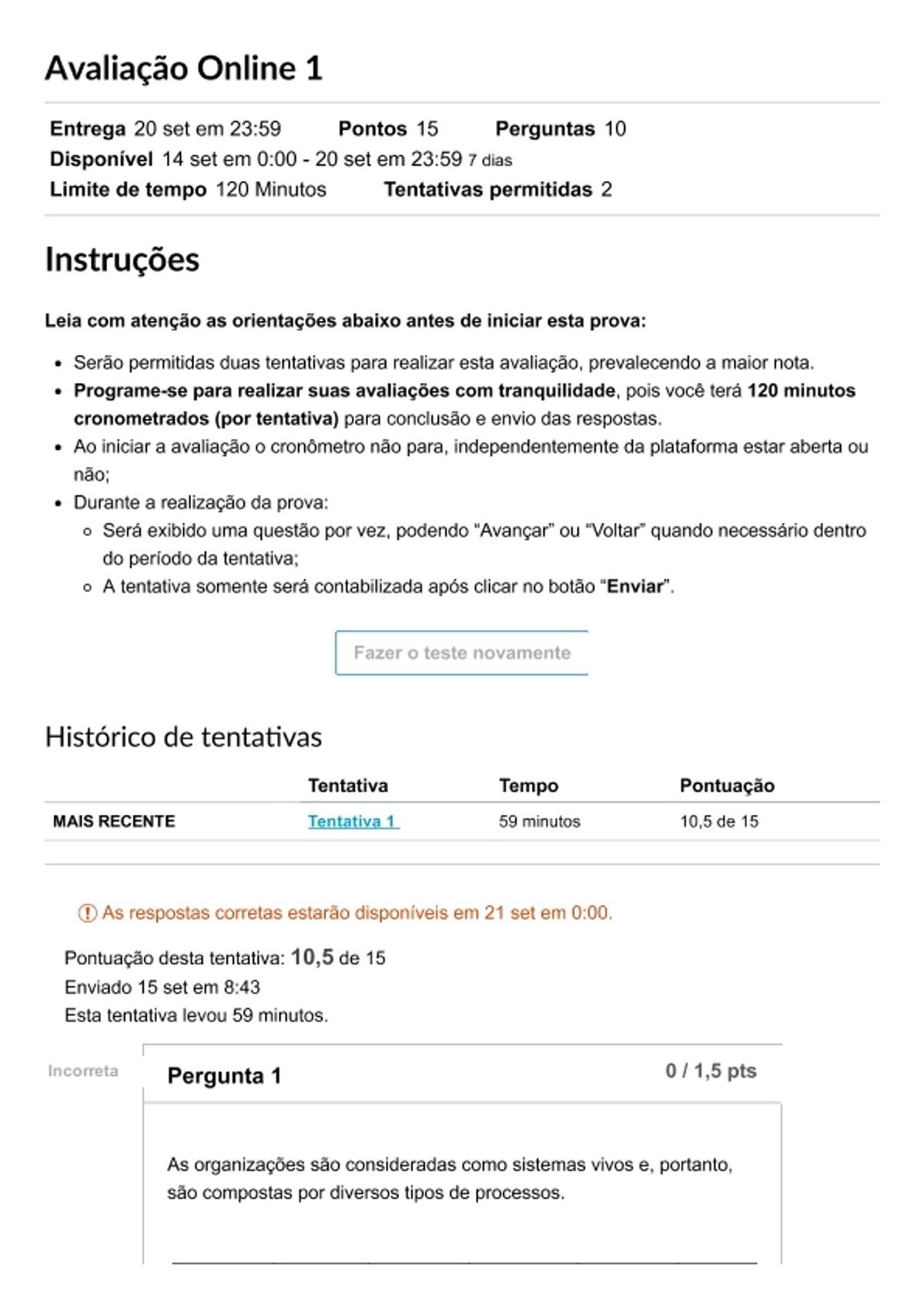 Pre-visualização do material Avaliação Online 1_ G AGO GPROC - página 1