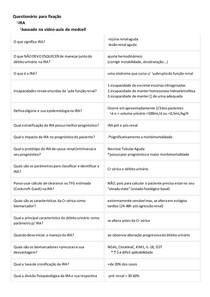 Questionário para fixação (IRA, classificação e diagnóstico)